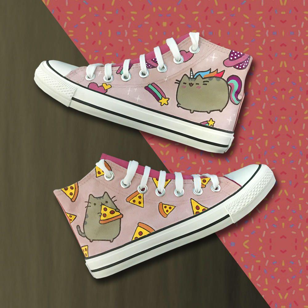 874d6939b4c8 Pusheen Unicorn  amp  Pizza - Hand painted customise shoe design by  happypillstudio on Etsy https
