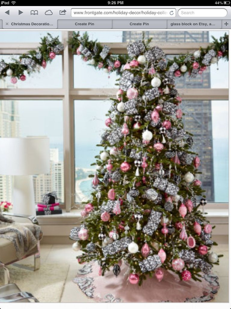 Pink And Silver Christmas Tree Holiday Decor Silver Christmas Tree Christmas Decorations