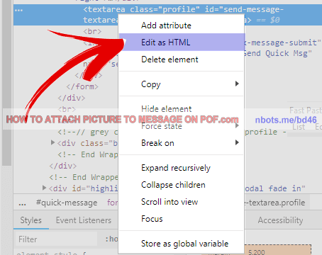 Image Of How To Attach Picture To Message Pof Inspect Source Code Edit As Html Messages Fish Dating Attachment