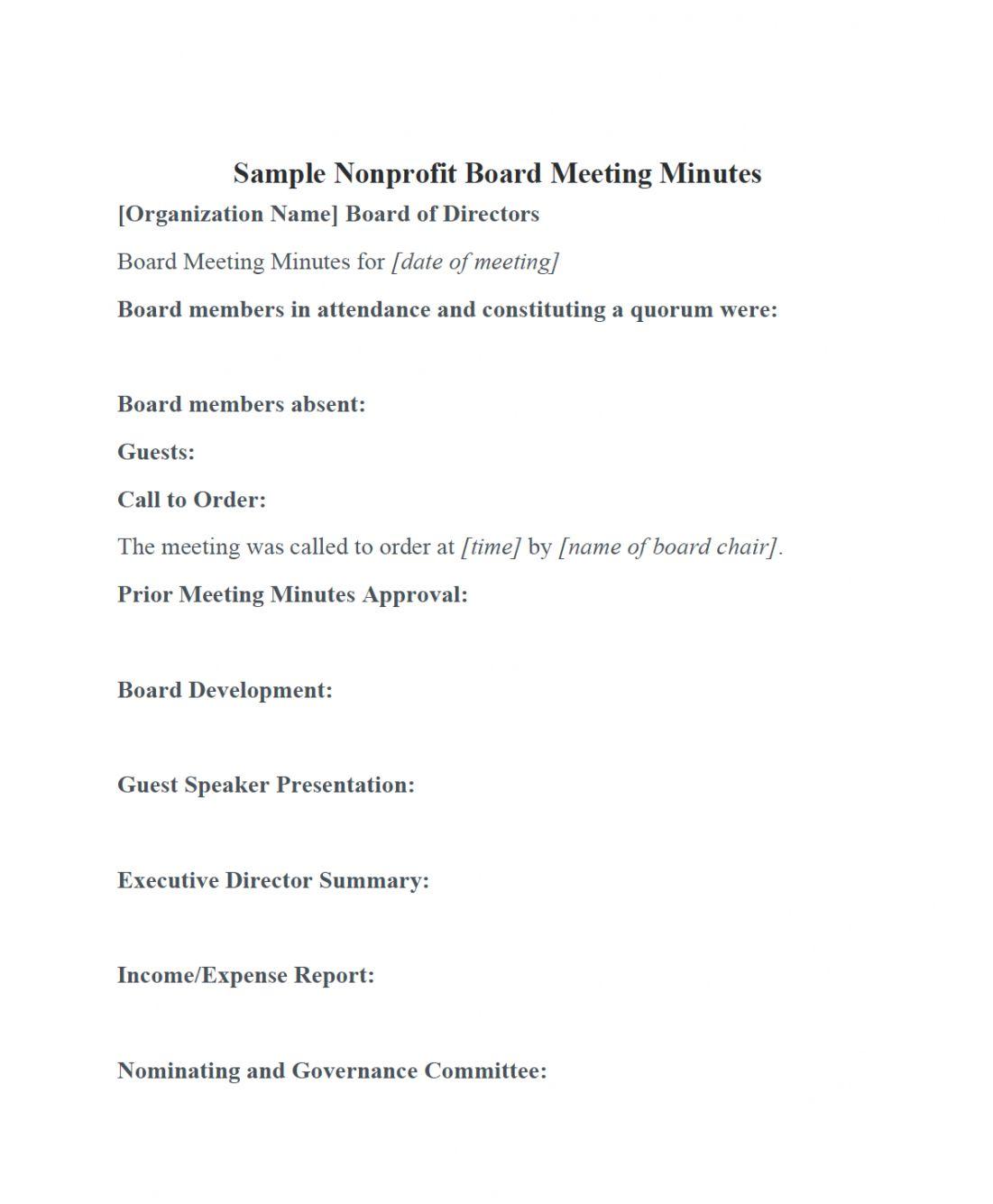 Printable Nonprofit Board Meeting Minutes Template Diligent Insights Non Profit Meeting Agen In 2020 Agenda Template Meeting Agenda Template Meeting Agenda