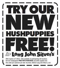 2 Free Hushpuppies W P At Long John Silver S On Http Www Icravefreebies Com Printable Coupons Long John Silvers Coupons Long John Silver