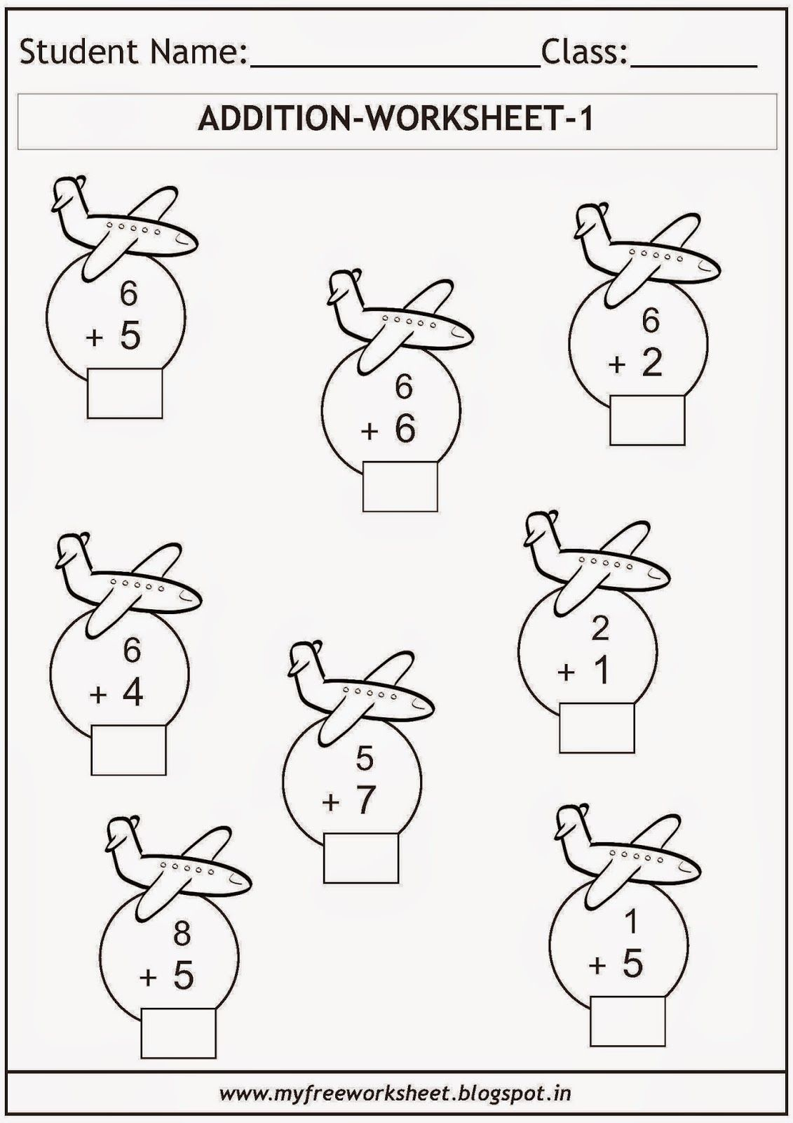 Free printable math worksheets for grade 1 kids. Includes a ...