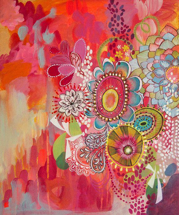 drukke achtergrond laten schilderen en later vanuit een hoek cirkels en bloemen laten schilderen met een dun penseel