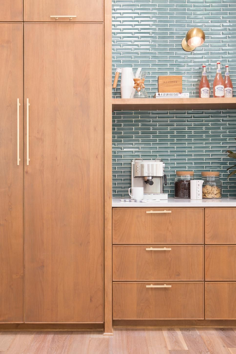 Hgtv shows you how to add style to your kitchen with backsplash ideas in various colors, shapes and materials including ceramic tile,. Neutral Midcentury Modern Kitchen with Blue Tile ...