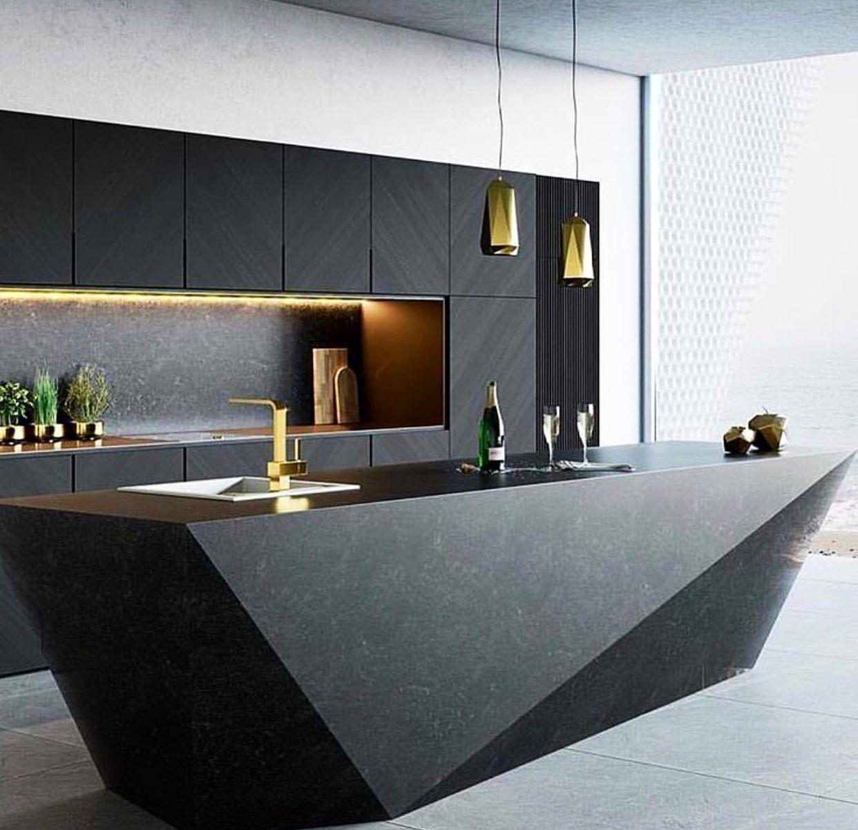 Modern Matte Black Kitchen With Gold Finishes Luxury Kitchen Design Kitchen Room Design Modern Kitchen Design
