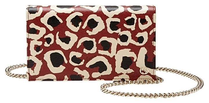 1ea6a2c04512 GUCCI Leopard Print Red Leather Chain Crossbody Bag 354697 NWT $1100 ...