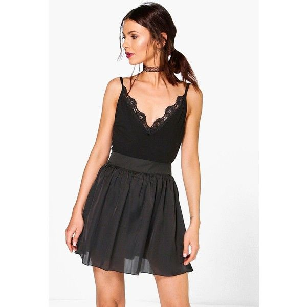 Boohoo Night Mali Woven Satin Full Skater Skirt (£15) ❤ liked on Polyvore featuring skirts, black, mini skater skirt, skater skirts, mid calf skirts, circle skirt and party skirts