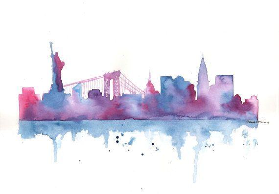 Original Watercolor Painting New York City Skyline By Milkfoam