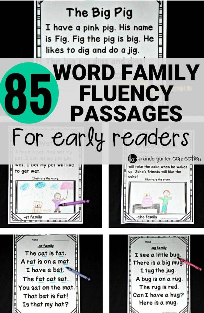 Word Family Fluency Passages for Early Readers | Pinterest ...