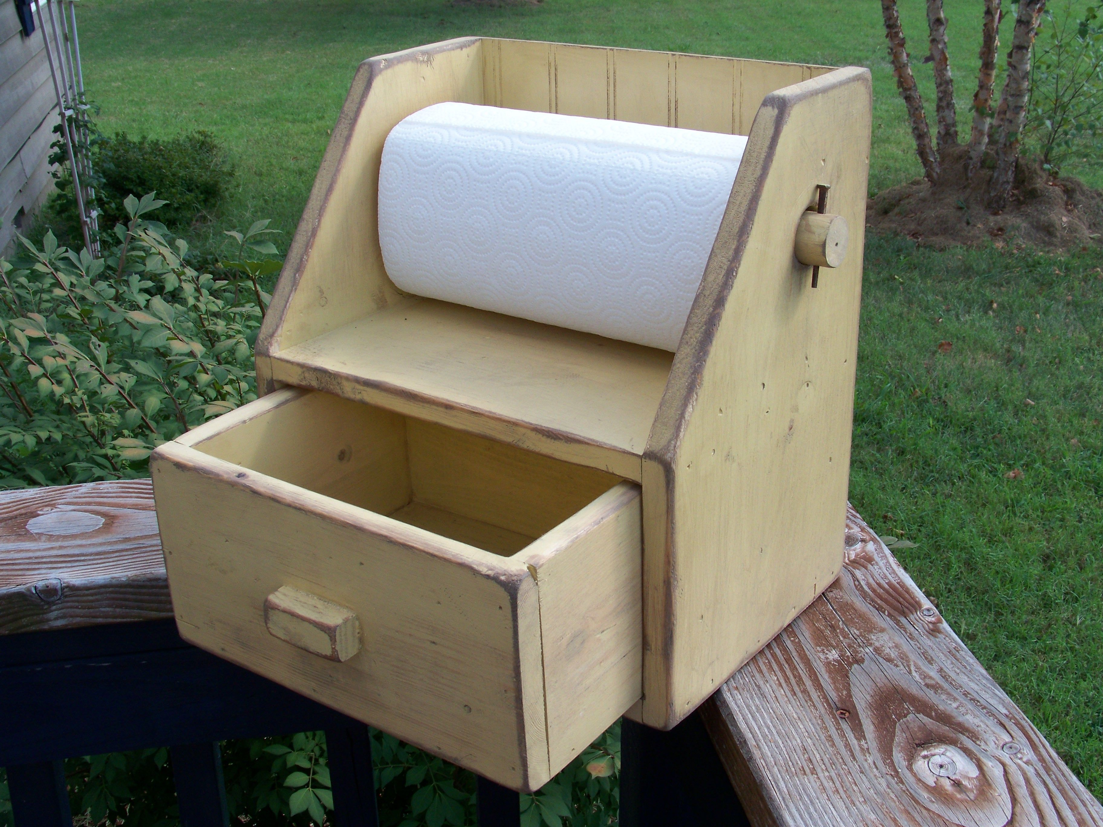 Primitive counter top paper towel holder  $24.00 plus shipping   American Primitive Furnishings