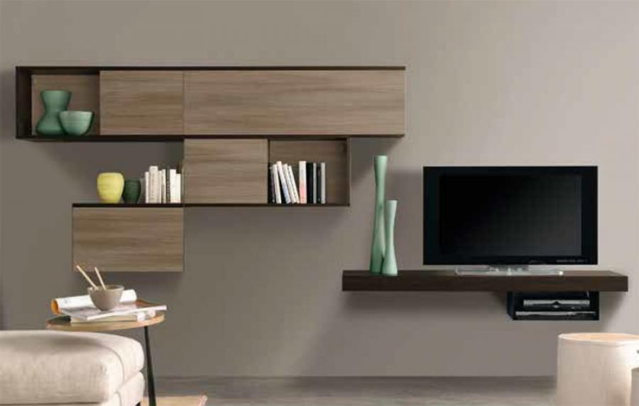 Modern TV Unit Wall Storage System In Various Wood, Gloss Or Matt Finishes