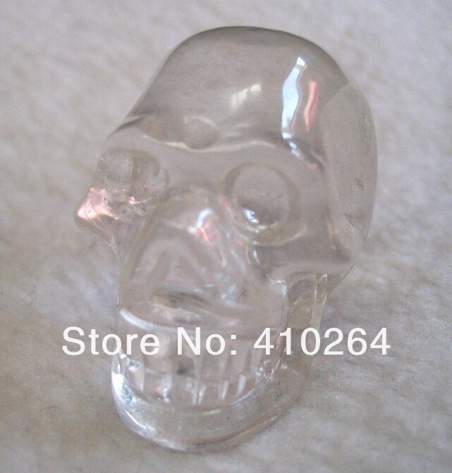 0116P old craft  Fast Shipping Small FengShui Crystal dry skeleton head Skull Statue A0314