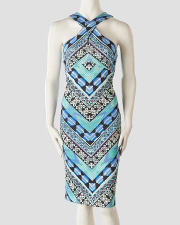 Aztec Print X-Neck Sheath Dress, Main View