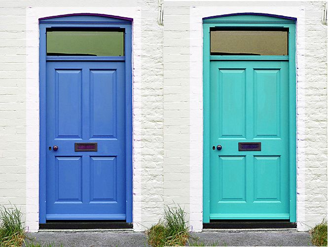 a pair of blue doors | white & turquoise exteriors | pinterest