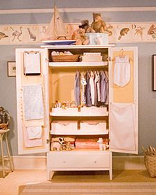 A Small Armoire Makes An Ideal Closet For Baby Clothes And Accessories.  Here Are Our