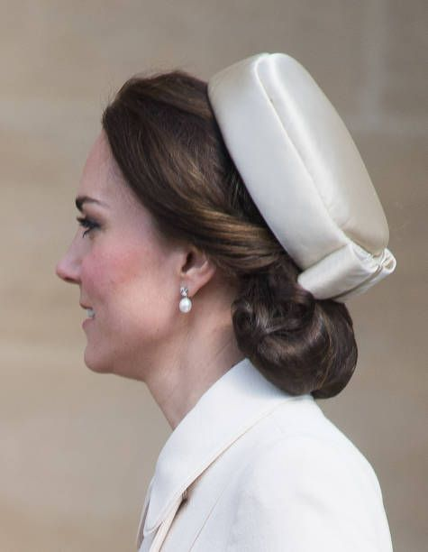 Catherine Duchess of Cambridge as she attends Easter Day Service at St George's Chapel on April 16 2017 in Windsor England