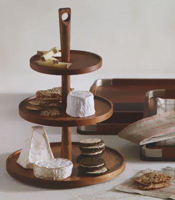 Triple Tiered Wooden Pedestal Food and Cheese Serving Tray & Triple Tiered Wooden Pedestal Food and Cheese Serving Tray | Trays ...