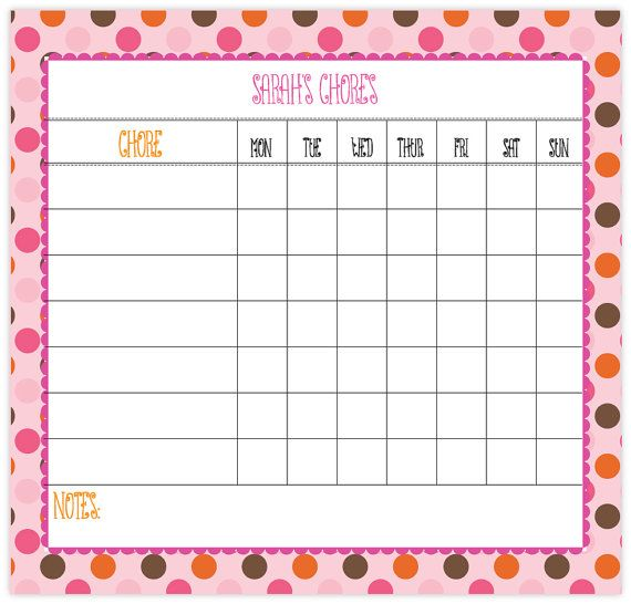 chore chart - dry erase board