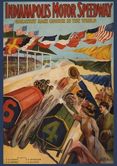Indianapolis Motor Speedway Race Cars Vintage Poster Reproduction Free s H | eBay