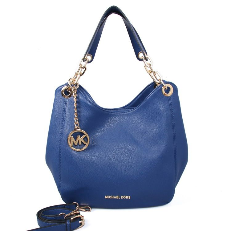 MICHAEL KORS Fulton Large Leather Shoulder Bag Navy Blue - €69.00 ...