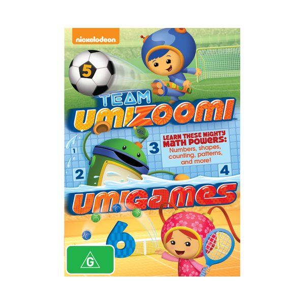 Four episodes from the children's animated series which aims to teach preschoolers basic mathematical concepts. Join Milli, Geo and Bot as they use their mighty math powers in Umi City to help their friends in need. The episodes are: 'Boardwalk Games', 'Crazy Skates', 'Carnival' and 'The Crayon Prix'.  Product: Team Umizoomi: Umigames [DVD] Format: DVD Catalogue No: AUDVD9615 Studio: Paramount Certification: G Release Date: 2014-04-09 Region: Region 4 Duration