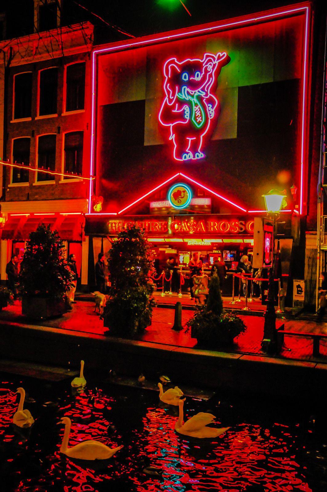 Red Light District At Night Amsterdam Netherlands Amsterdam