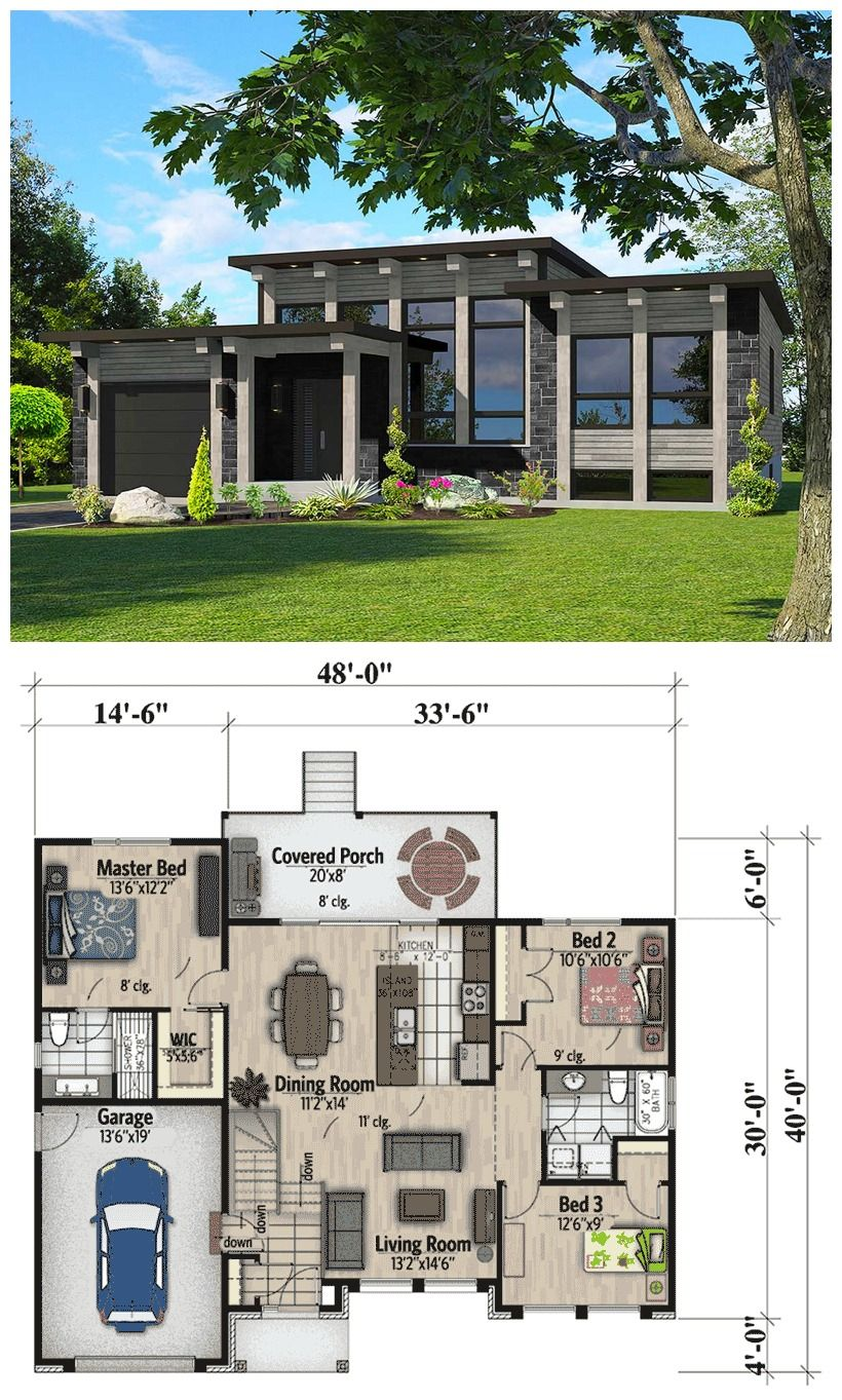 Modern One Story House Plan With Lots Of Natural Light: Attractive Modern House Plan Dramatic Transom Windows And