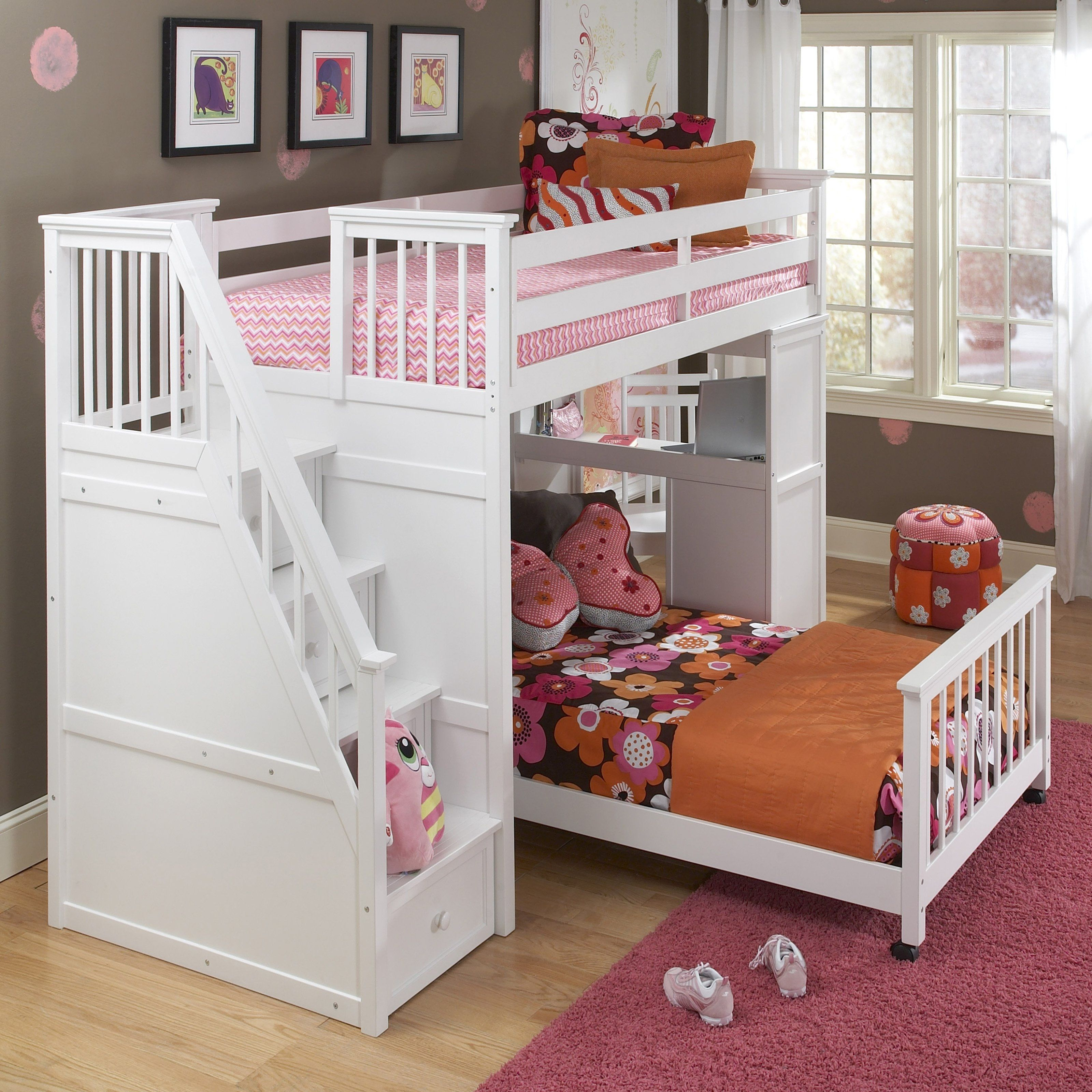 Astounding White Bunk Beds With Stairs Bunk beds with