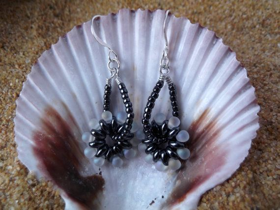 Spinning Beaded Cog Hematite Earrings by BeBeautifulDesigns