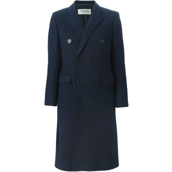 Saint Laurent Double Breasted Coat ($2,784) ❤ liked on Polyvore featuring outerwear, coats, blue, blue double breasted coat, blue coat, long sleeve coat, double-breasted coat and yves saint laurent
