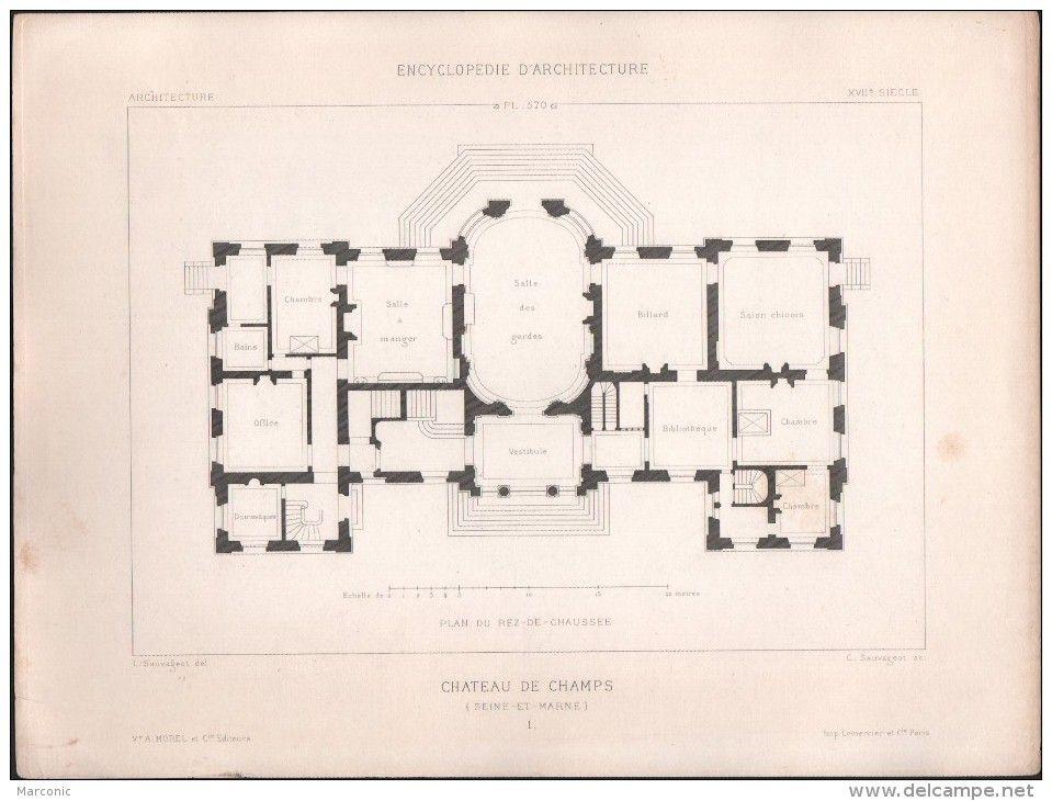 Plan chateau de champs lot de 4 plans architecte l for Plan architecte