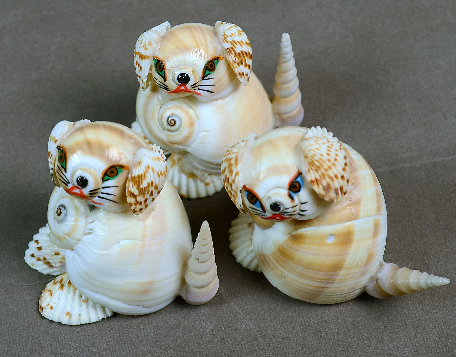 Indian Vintage Natural Sea Shells Small Puppies Dogs Shell
