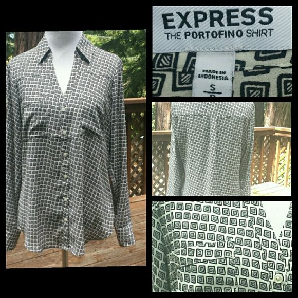 Geo Patterned Portofino Shirt Black and white square-like pattern designs this shirt. 100% polyester and in good condition. Express Tops Button Down Shirts