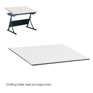 """Drafting Table Top, Rectangular, 60w x 37-1/2d, White by Safco. $218.84. Hard-working table top delivers precision results every time. Extra-thick 3/4"""" white melamine for exceptional durability and long wear. Wide design accommodates large format papers with ease. Top and Base sold and shipped separately?ORDER BOTH. Top Color: White; Top Shape: Rectangular."""