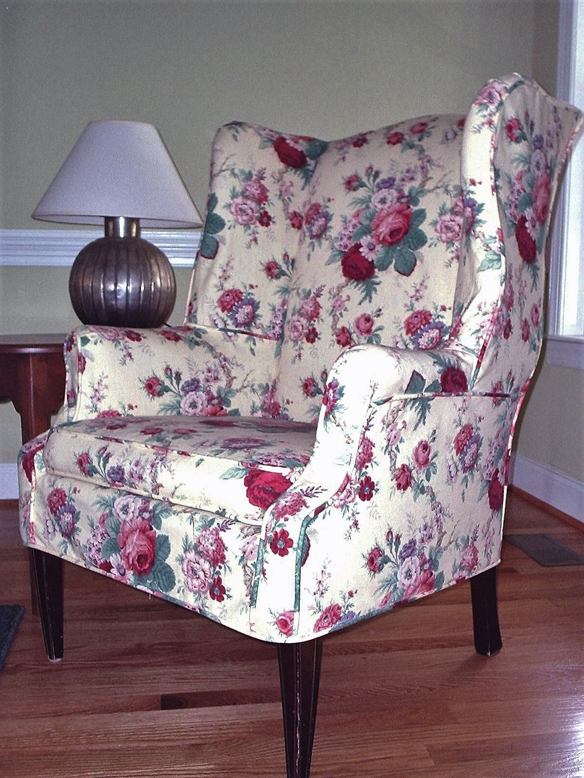 Wing Chair Slipcover In A Classic Waverly Floral Fabric