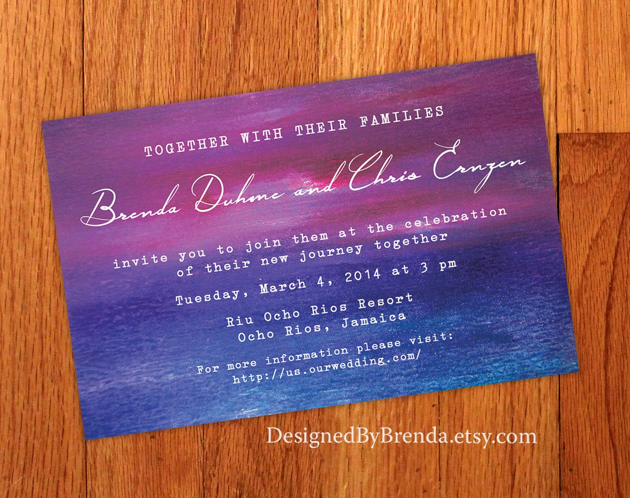 Sunrise Wedding Invitations: Abstract Artistic Wedding Invitation With Faux Painted