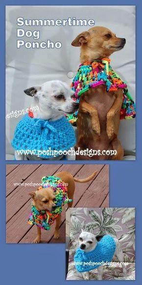 Summertime Dog Poncho Crochet Pattern Dog Coats Pinterest