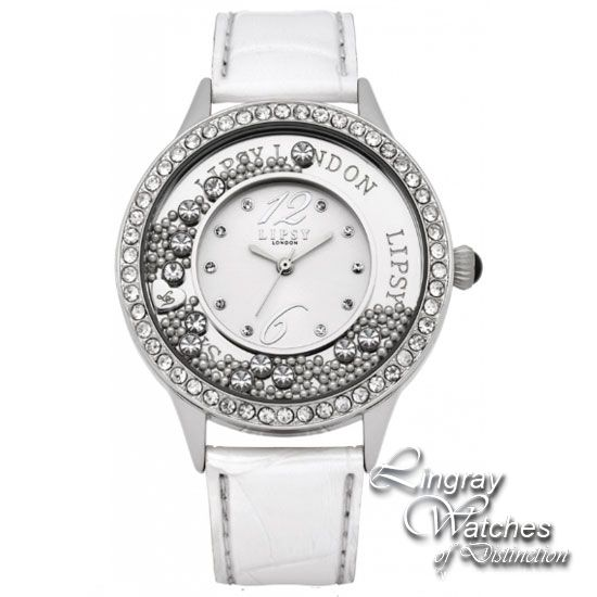 Lipsy Ladies White Leather Fashion Watch - LP103  RRP: £40.00 Online price: £36.00 You Save: £4.00 (10%)  www.lingraywatches.co.uk