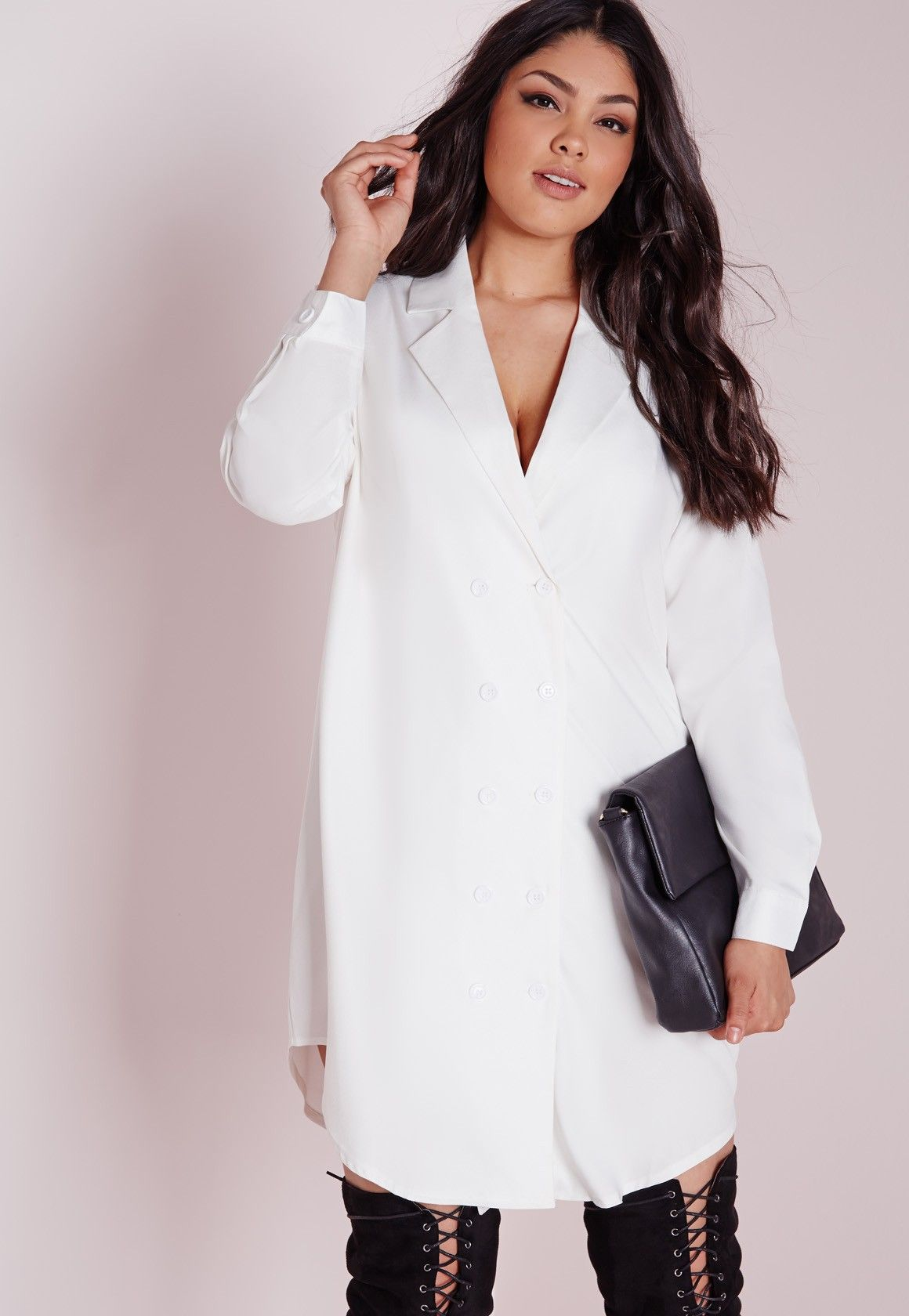 plus size tuxedo shirt dress white inspo pinterest blazer grande taille et taille. Black Bedroom Furniture Sets. Home Design Ideas
