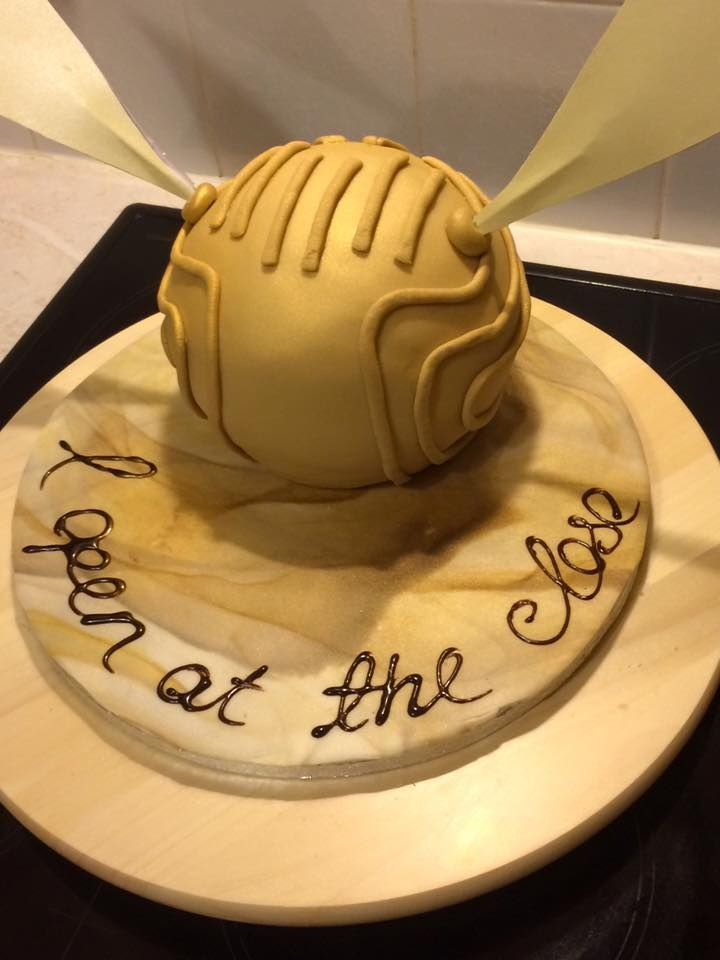 Harry Potter S Golden Snitch Cake Chocolate Sponge Buttercream And Gold Fondant Wings Made