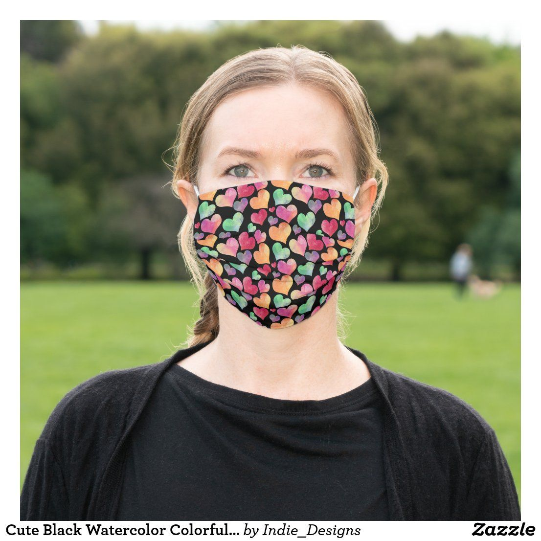 Photo of Cute Black Watercolor Colorful Heart Pattern Cloth Face Mask
