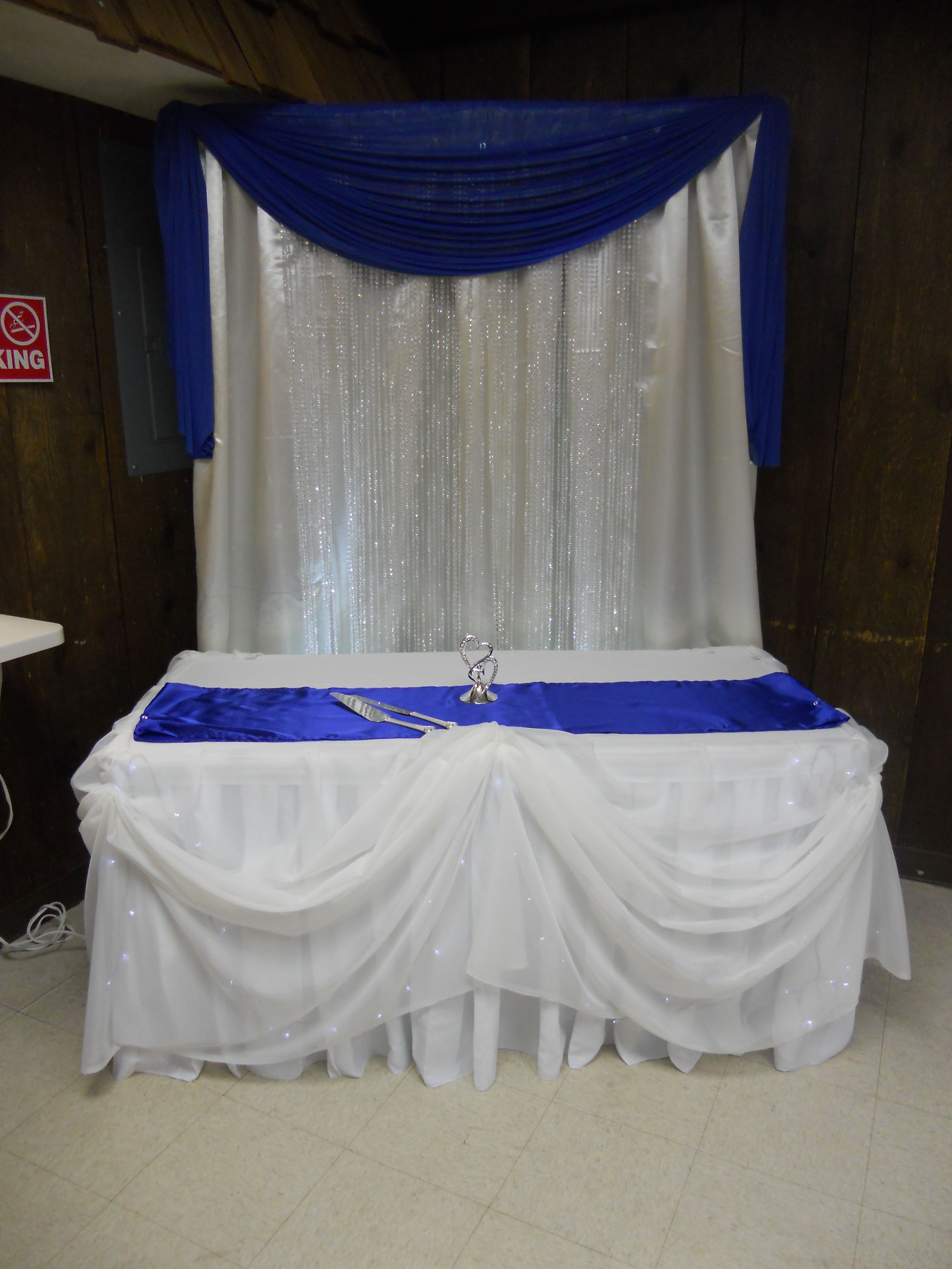 Cake Table Royal Blue Wedding Backdrop Ideas Blue
