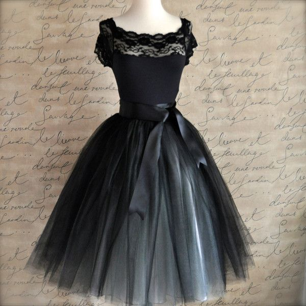 Tulle tutu skirt for women in black and silver. Ballerina skirt ($235) ❤ liked on Polyvore featuring dresses