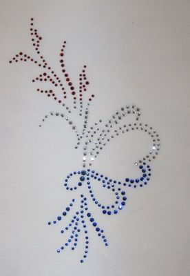 Patriotic Rhinestone Design With A Butterfly