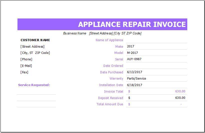 Appliance Repair Invoice Appliance Repair Invoice Template Appliance Repair Business