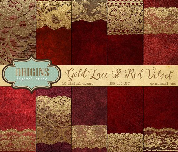 Gold Lace And Red Velvet Digital Paper Vintage Lace Backgrounds
