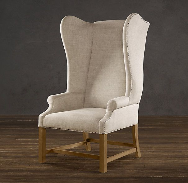 Restoration Hardware French Upholstered Wing Chair.