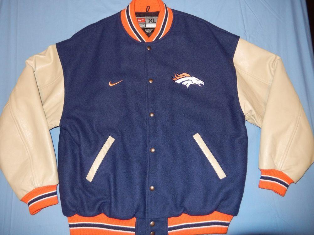 6c5d0488 Nike Denver Broncos Varsity Jacket Leather & Wool XL Rare NFL ...