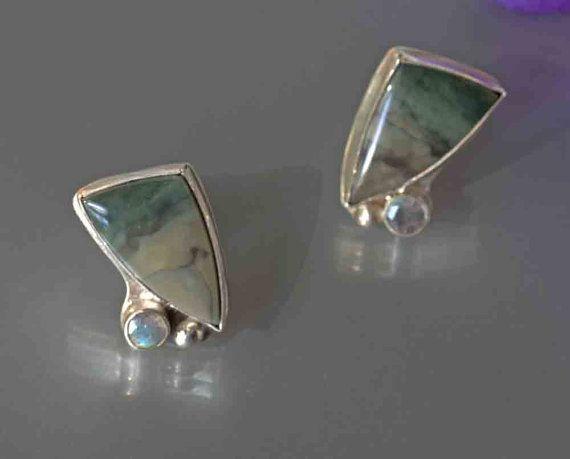 Morrisonite Jasper Labradorite Earrings In Silver Olive Green Stud Ooak Metalwork