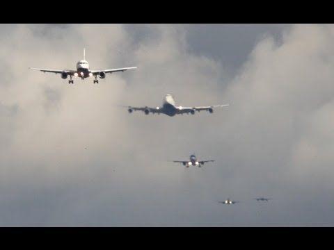 London Heathrow Approach Time-Lapse B747, A340, B777 ...